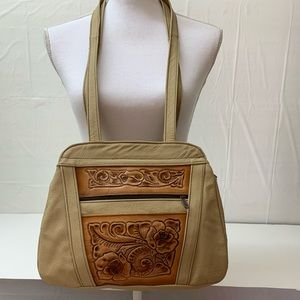 Hand tooled western style leather tan shoulder bag